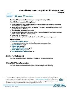 Altera Phase-Locked Loop (Altera PLL) IP Core User Guide