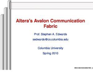 Altera s Avalon Communication Fabric