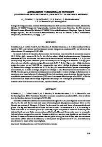 ALTERACIONES NUTRIMENTALES EN TOMATE (LYCOPERSICON ESCULENTUM MILL.) POR EFECTO DE NACOBBUS ABERRANS RESUMEN