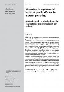 Alterations in psychosocial health of people affected by asbestos poisoning