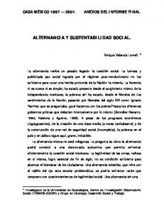 ALTERNANCIA Y SUSTENTABILIDAD SOCIAL