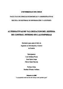 ALTERNATIVAS DE VALORIZACION DEL SISTEMA DE CONTROL INTERNO EN LAS EMPRESAS