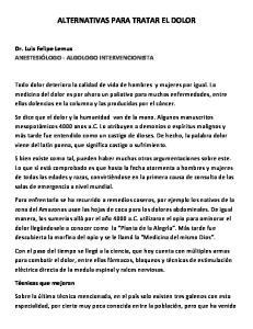 ALTERNATIVAS PARA TRATAR EL DOLOR