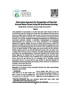 Alternative Approach for Recognition of Potential Ground Water Zones Using GIS and Remote Sensing