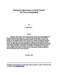 Alternative Approaches to Flood Control: The Case of Bangladesh