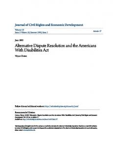 Alternative Dispute Resolution and the Americans With Disabilities Act