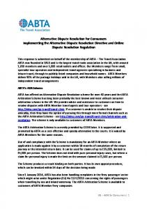 Alternative Dispute Resolution for Consumers Implementing the Alternative Dispute Resolution Directive and Online Dispute Resolution Regulation