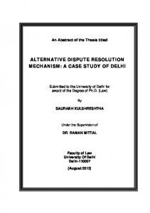 ALTERNATIVE DISPUTE RESOLUTION MECHANISM: A CASE STUDY OF DELHI