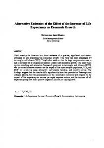Alternative Estimates of the Effect of the Increase of Life Expectancy on Economic Growth