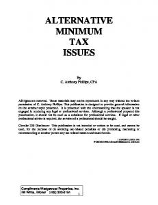 ALTERNATIVE MINIMUM TAX ISSUES