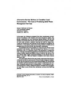 Alternative Service Delivery in Canadian Local Governments: The Costs of Producing Solid Waste Management Services