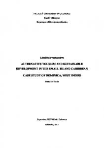 ALTERNATIVE TOURISM AND SUSTAINABLE DEVELOPMENT IN THE SMALL ISLAND CARIBBEAN CASE STUDY OF DOMINICA, WEST INDIES