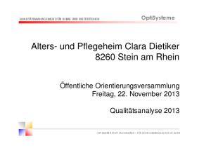Alters- und Pflegeheim Clara Dietiker 8260 Stein am Rhein