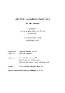 Altersbilder von deutschen Studierenden. der Zahnmedizin