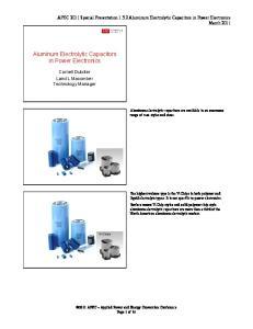 Aluminum Electrolytic Capacitors in Power Electronics
