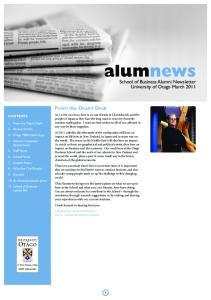 alumnews School of Business Alumni Newsletter University of Otago March 2011 From the Dean s Desk professor george benwell dean, otago business school