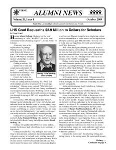 ALUMNI NEWS Volume 20, Issue 1 October 2009