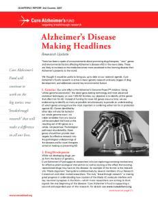 Alzheimer s Disease Making Headlines