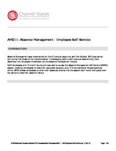 AM011: Absence Management - Employee Self-Service