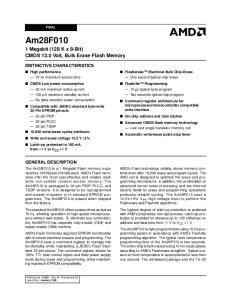 Am28F Megabit (128 K x 8-Bit) CMOS 12.0 Volt, Bulk Erase Flash Memory DISTINCTIVE CHARACTERISTICS GENERAL DESCRIPTION