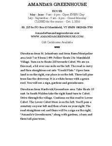 AMANDA S GREENHOUSE. Rt. 215 So PO Box 63 Marshfield, VT (802)