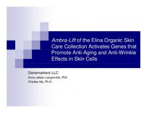 Ambra-Lift of the Elina Organic Skin Care Collection Activates Genes that Promote Anti-Aging and Anti-Wrinkle Effects in Skin Cells