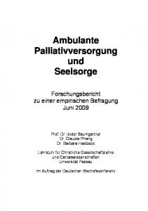 Ambulante Palliativversorgung und Seelsorge
