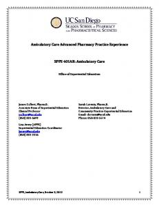 Ambulatory Care Advanced Pharmacy Practice Experience. SPPS 401AB: Ambulatory Care