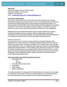 Ambulatory Care Rotation Syllabus - Southern Nevada Health District AY