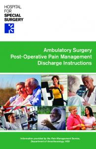 Ambulatory Surgery Post-Operative Pain Management Discharge Instructions