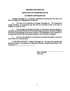 AMENDED AND RESTATED CERTIFICATE OF INCORPORATION OF FLITWAYS TECHNOLOGY INC