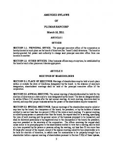 AMENDED BYLAWS PLUMAS BANCORP. March 16, 2011