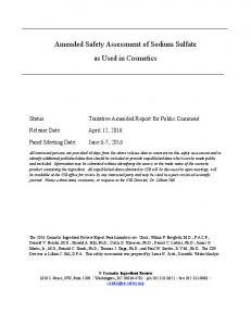 Amended Safety Assessment of Sodium Sulfate as Used in Cosmetics