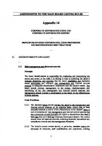 AMENDMENTS TO THE MAIN BOARD LISTING RULES. Appendix 14 CORPORATE GOVERNANCE CODE AND CORPORATE GOVERNANCE REPORT
