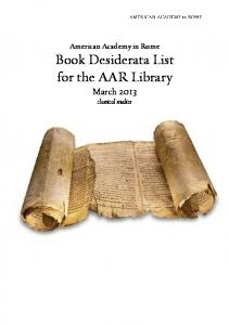 American Academy in Rome Book Desiderata List for the AAR Library. March classical studies