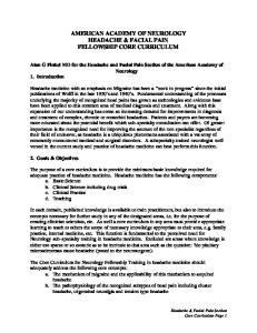 AMERICAN ACADEMY OF NEUROLOGY HEADACHE & FACIAL PAIN FELLOWSHIP CORE CURRICULUM