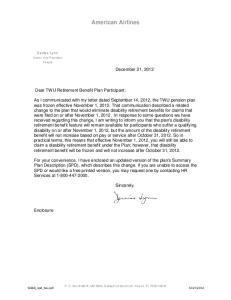 American Airlines. Dear TWU Retirement Benefit Plan Participant: