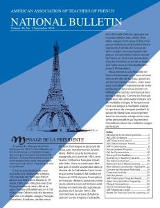 AMERICAN ASSOCIATION OF TEACHERS OF FRENCH NATIONAL BULLETIN
