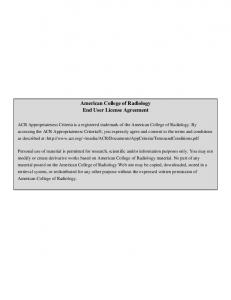 American College of Radiology End User License Agreement