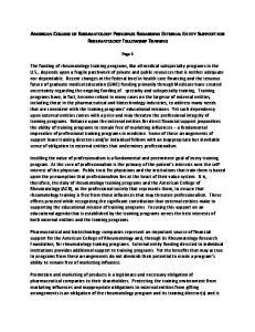 AMERICAN COLLEGE OF RHEUMATOLOGY PRINCIPLES REGARDING EXTERNAL ENTITY SUPPORT FOR RHEUMATOLOGY FELLOWSHIP TRAINING