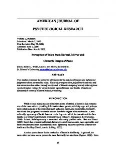 AMERICAN JOURNAL OF PSYCHOLOGICAL RESEARCH