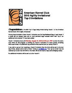 American Kennel Club 2015 Agility Invitational Top 5 Invitations