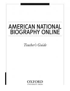 AMERICAN NATIONAL BIOGRAPHY ONLINE. Teacher s Guide