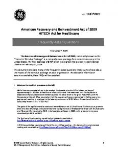 American Recovery and Reinvestment Act of 2009 HITECH Act for Healthcare. Frequently-Asked Questions