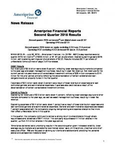 Ameriprise Financial Reports Second Quarter 2016 Results