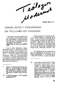 AMOR, SEXO Y FEMINISMO EN TEILHARD DE CHARDIN