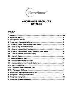 AMORPHOUS PRODUCTS CATALOG