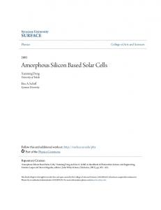 Amorphous Silicon Based Solar Cells