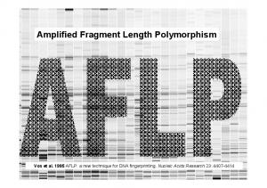 Amplified Fragment Length Polymorphism. Vos et al AFLP: a new technique for DNA fingerprinting. Nucleic Acids Research 23: