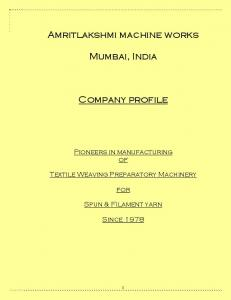Amritlakshmi machine works. Mumbai, India. Company profile